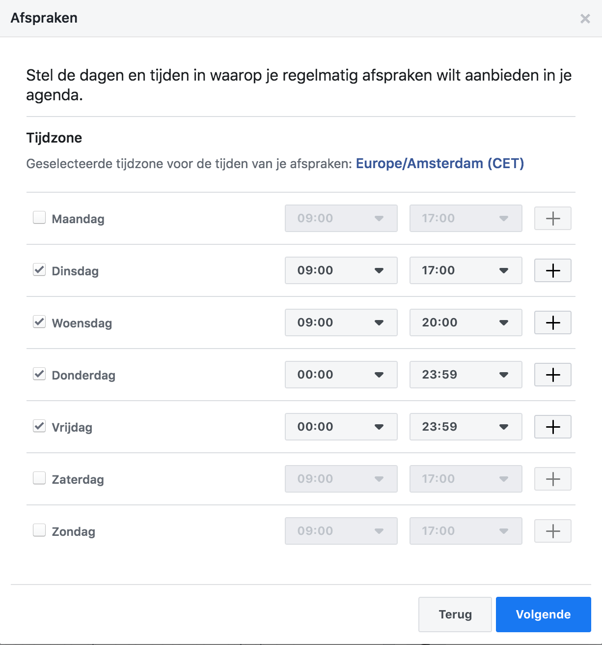 Facebook Afspraken beschikbare data en tijden instellen