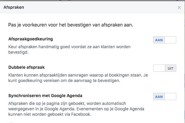 facebook afspraken pas je voorkeuren voor het bevestigen van afspraken aan