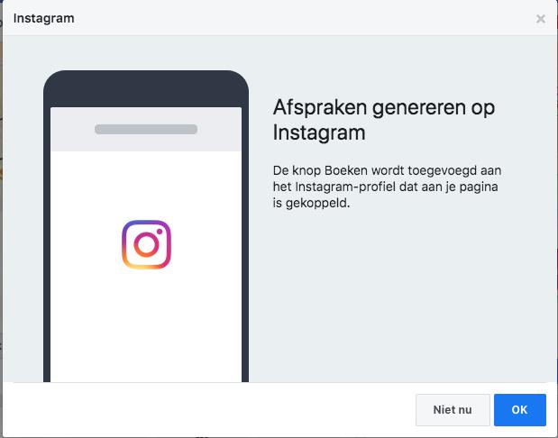 Facebook Afspraken genereren via Instagram