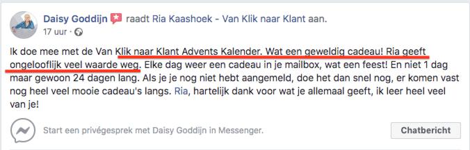 Testimonial van Klik naar Klant Online Marketing Adventskalender