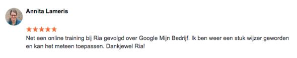 Testimonial Google Mijn Bedrijf - Annita