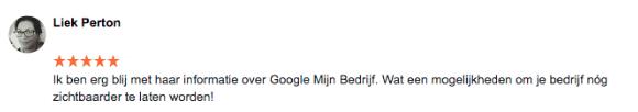 Testimonial Google Mijn Bedrijf Liek