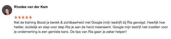 Review Google Mijn Bedrijf Rhodee