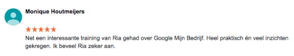 Review Google Mijn Bedrijf Monique