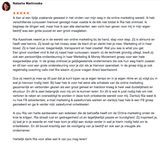 Review Online Marketing Succes Natasha