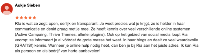 Review Online Marketing Succes Aukje