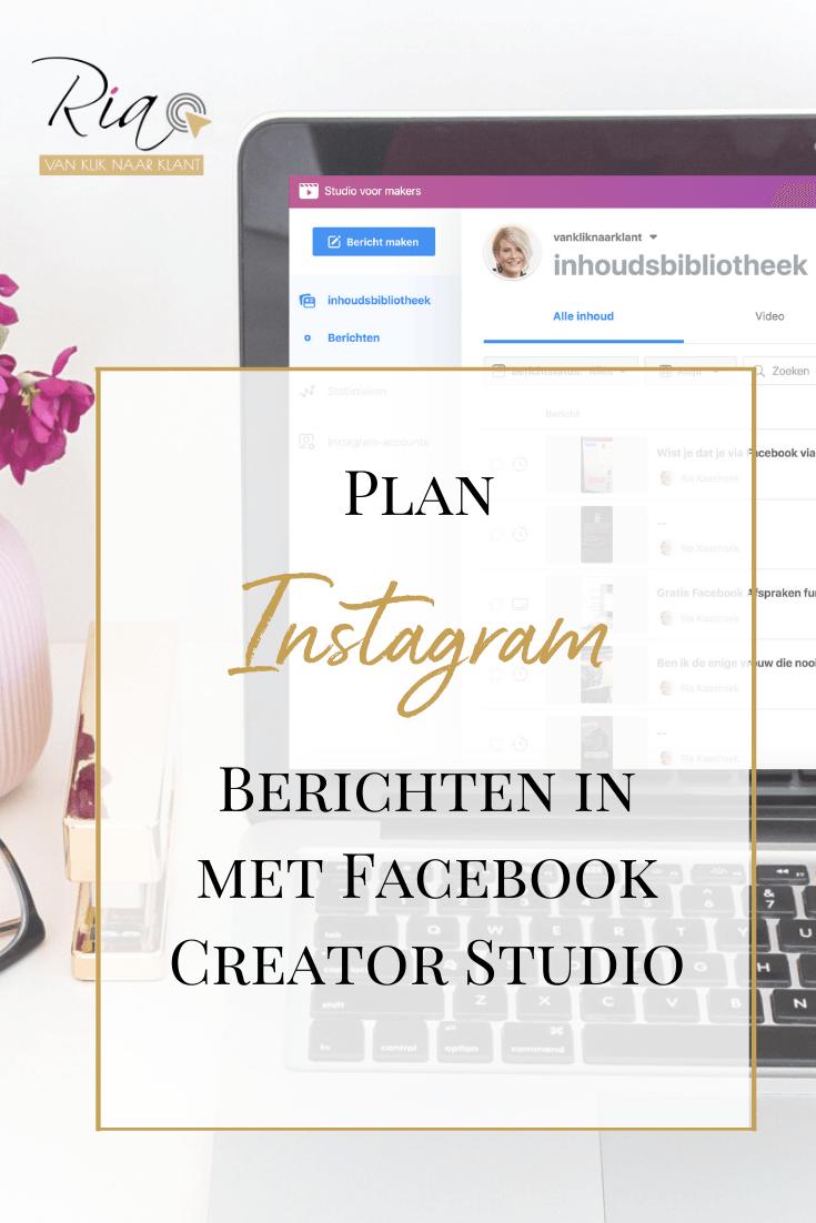 Pinterest - Plan je Instagram Berichten in met de Facebook Creator Studio