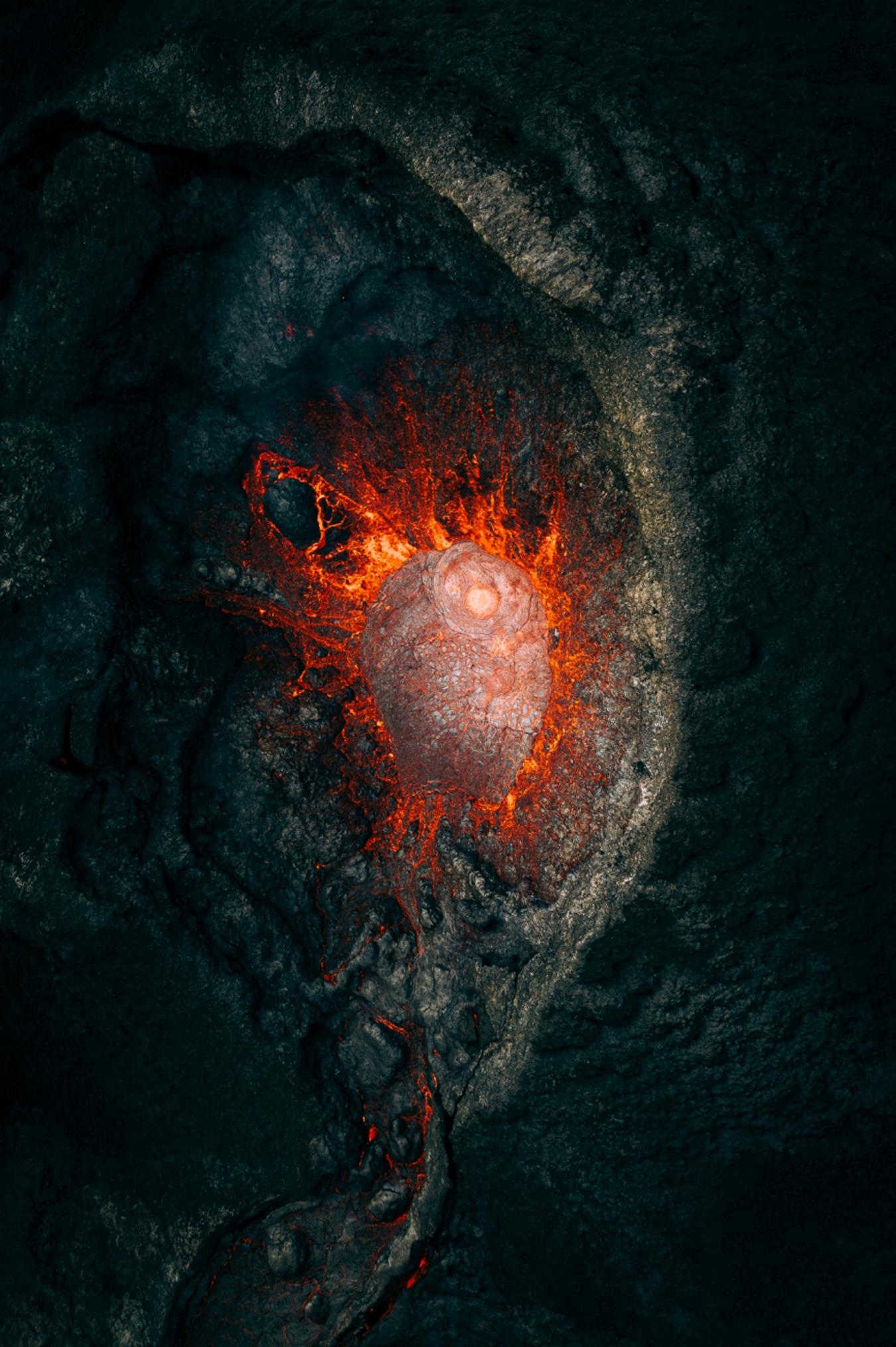 Fotos dron interior volcán
