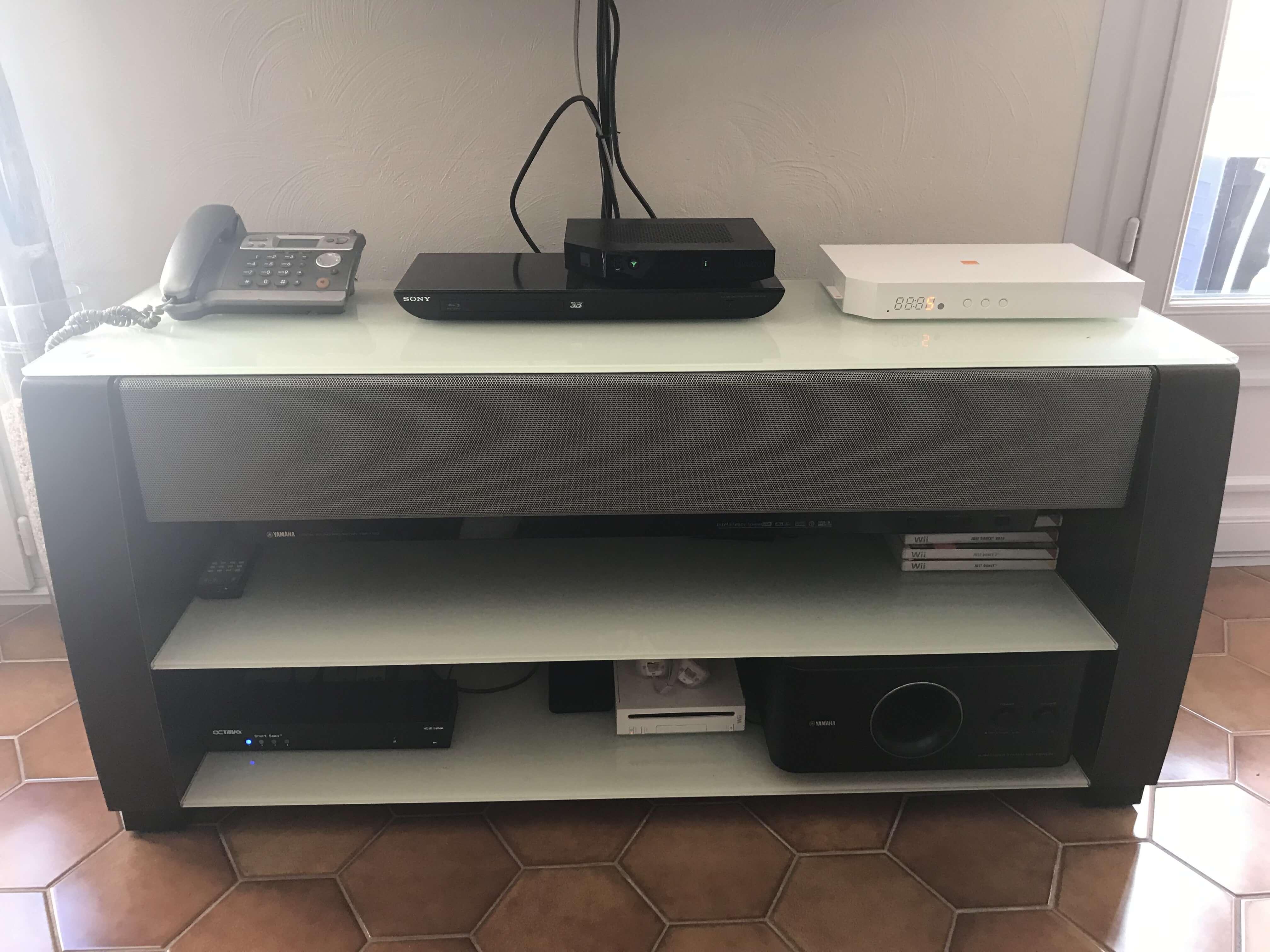 Meuble Tv Hifi Intégré meuble tv + barre de son yamaha ysp 1100 + caisson de grave